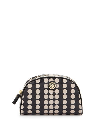 Dot-Print Coated Canvas Cosmetic Case, Black