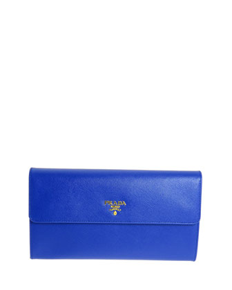 Saffiano Flap Travel Wallet, Blue (Royal)