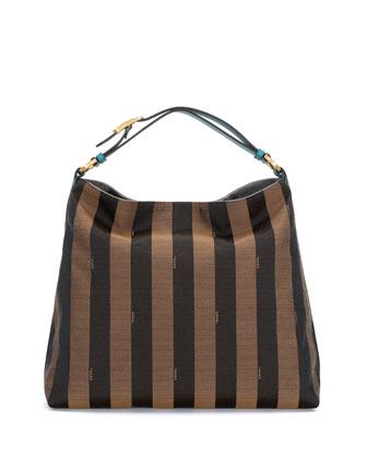 Pequin-Stripe Hobo Bag, Brown/Forest
