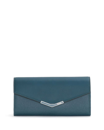 Vitello Elite Continental Flap Wallet, Ocean Teal