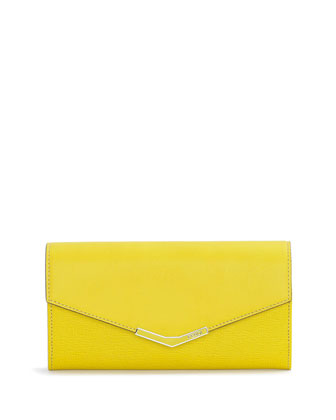Vitello Elite Continental Flap Wallet, Cedro Yellow