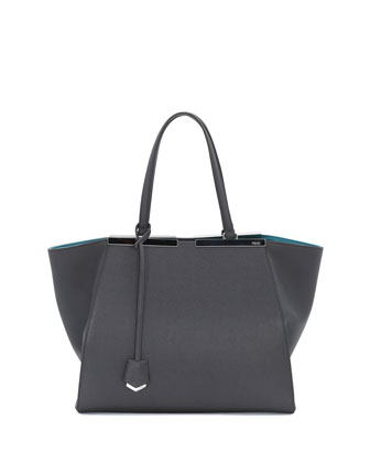 Trois-Jour Leather Tote Bag, Gray/Teal
