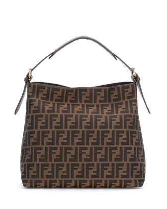 Zucca-Print Canvas Small Hobo Bag, Tobacco