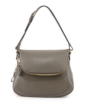 Jennifer Zipper Trimmed Medium Shoulder Bag, Graphite