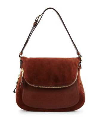 Jennifer Medium Suede/Leather Shoulder Bag, Nutmeg