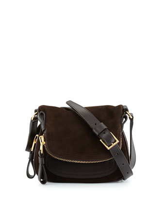 Jennifer Suede Micro Crossbody Bag, Dark Brown