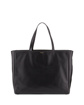 Reversible Calfskin Shopping Tote Bag, Black