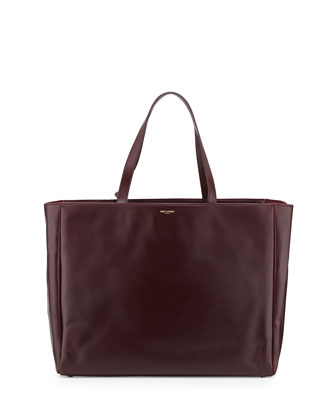 Reversible Calfskin Shopping Tote Bag, Bordeaux