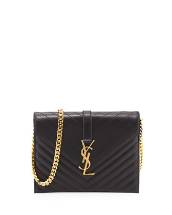 Monogramme Envelope Chain Shoulder Bag, Black