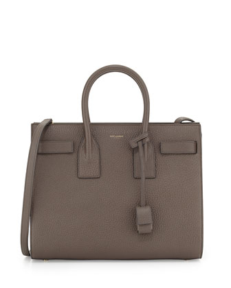 Sac de Jour Small Grained Leather Tote Bag, Earth Gray