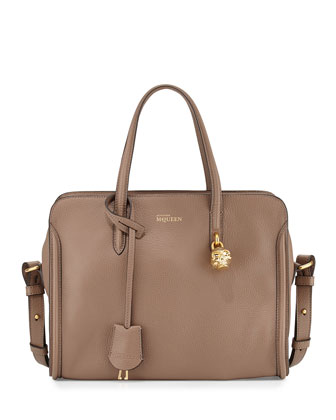 Small Skull Padlock Satchel Bag, Taupe