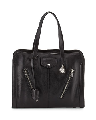 Padlock Biker Zip Satchel Bag, Black