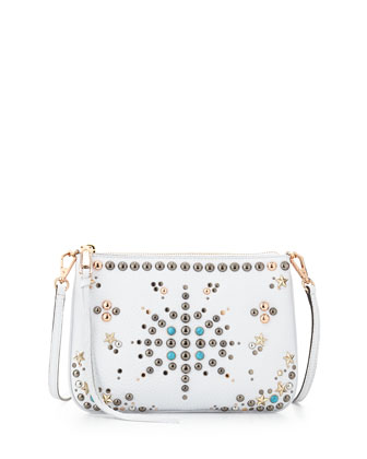 Ascher Studded Leather Crossbody Bag, White
