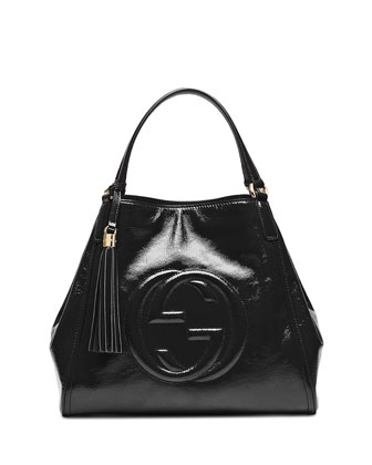 Soho Patent Leather Shoulder Bag, Nero