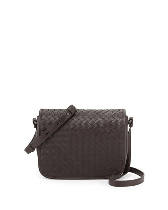 Curved Small Full-Flap Crossbody Bag, Ebano Dark Brown