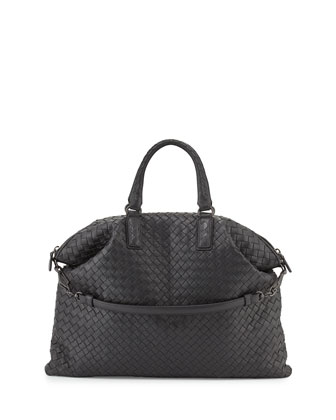 Medium Convertible Woven Tote Bag, Ardoise Dark Gray