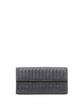 Woven Deerskin Continental Flap Organizer Wallet, New Lt. Gray