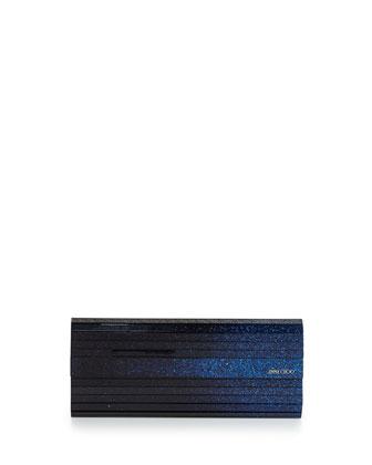Sweetie Glittery Degrade Resin Clutch Bag, Ink/Black