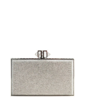 Crystal Coffered Rectangle Clutch Bag, Shade