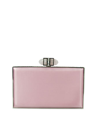 Satin Coffered Rectangle Clutch Bag, Light Rose