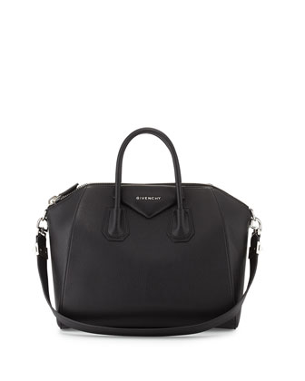 Antigona Medium Sugar Satchel Bag, Black