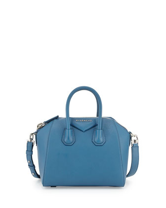Antigona Mini Satchel Bag, Medium Blue