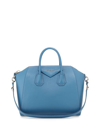 Antigona Medium Sugar Satchel Bag, Medium Blue