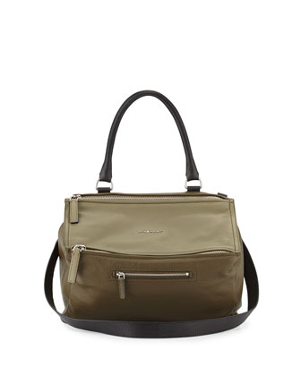 Pandora Medium Tricolor Shoulder Bag, Khaki/Multi