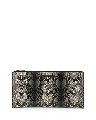 Snake Heart Annabelle Clutch Bag, Gray Multi