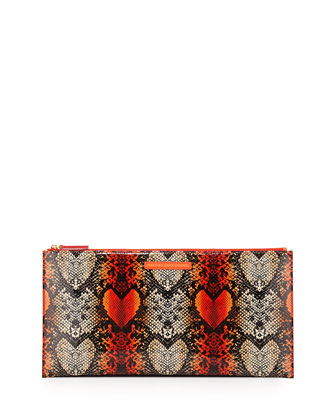 Snake Heart Annabelle Clutch Bag, Infrared Multi
