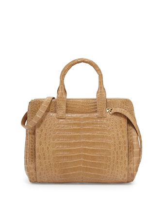 Crocodile Large Zip Tote Bag, Camel Matte