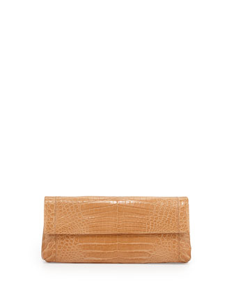 Back-Pocket Crocodile Clutch Bag, Beige