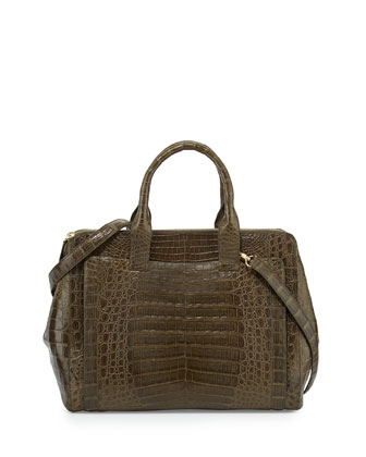 Crocodile Large Zip Tote Bag, Green Matte