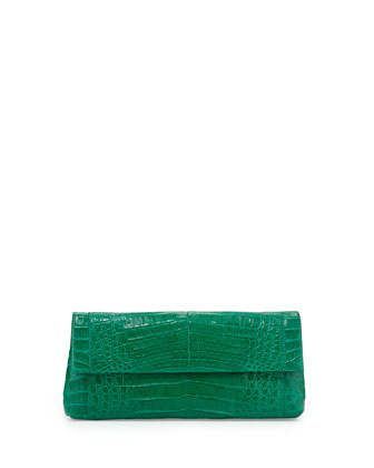 Back-Pocket Crocodile Clutch Bag, Green
