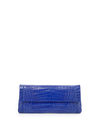 Back-Pocket Crocodile Clutch Bag, Cobalt