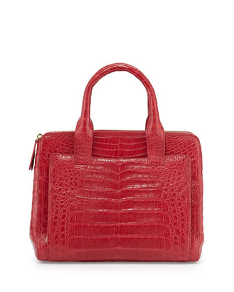 Crocodile Small Zip Tote Bag, Red Matte