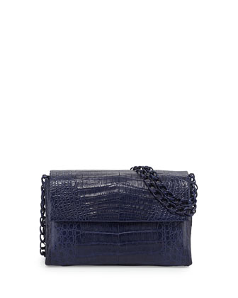 Crocodile Medium Flap Shoulder Bag, Navy