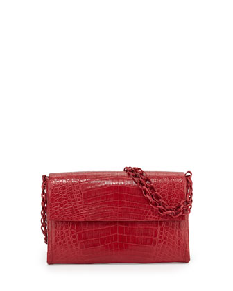 Crocodile Medium Flap Shoulder Bag, Red