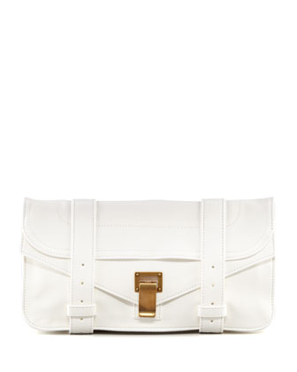 PS1 Pouchette Lambskin Clutch Bag, White
