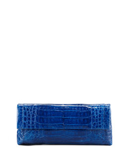 Nancy Gonzalez Soft Flap Crocodile Clutch, Medium