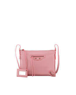 Balenciaga Papier Leather Crossbody Bag, Rose Anglaise