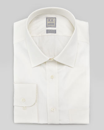 Solid Basic-Fit Dress Shirt, Ecru