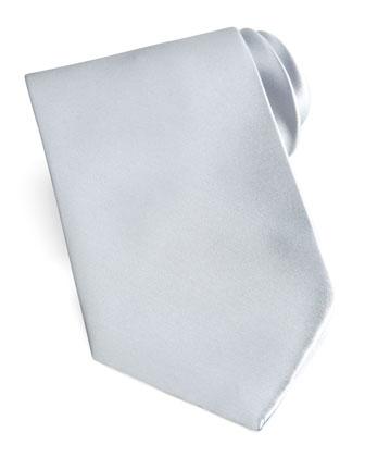 Solid Satin Tie, Silver
