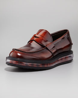 Prada Levitate Rubber-Sole Penny Loafer, Tobacco