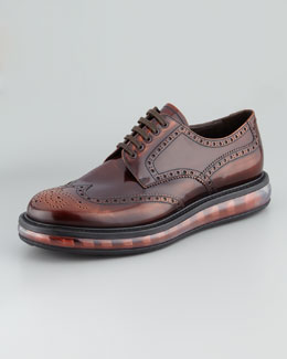 Prada Levitate Spazzolato Wing-Tip, Brown