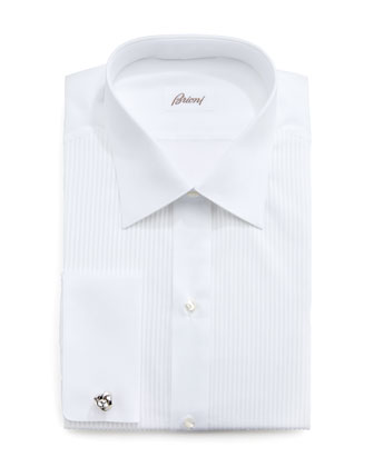 Barron Pleated Tuxedo Shirt, White