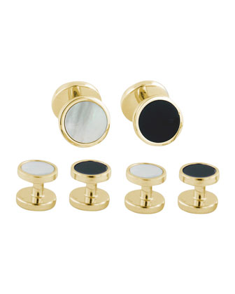 Reversible Cuff Links & Shirt Stud Set, Gold