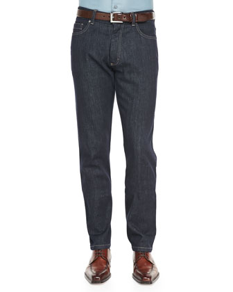 Cashmere Shawl-Collar Sweater, 3-Ply Cotton Shirt & Roq Five-Pocket Jeans