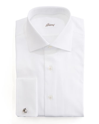 Wow Twill French-Cuff Dress Shirt, White
