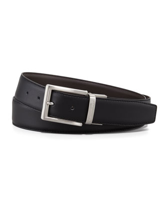 Reversible Matte Leather Belt, Black/Brown
